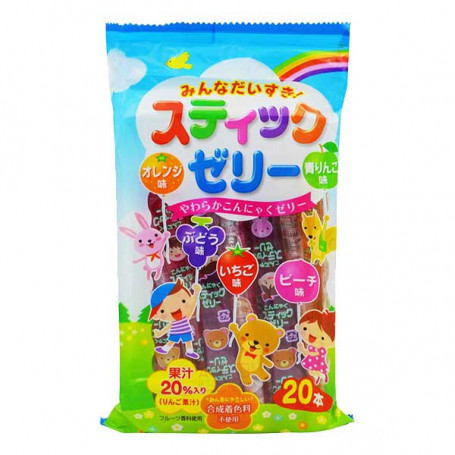 Slik STOP MADSPILD - Ribon Minna Daisuki Jelly Sticks Fruit Flavor 20 stk RL09013