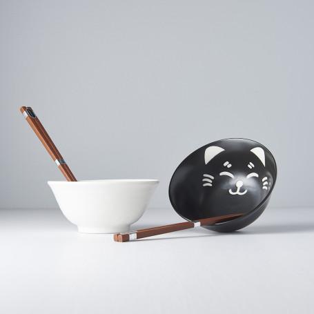 Serveringssæt Japansk Keramik Sæt 2 Skåle Med Spisepinde 15cm Neko VHC0300