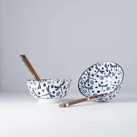 Serveringssæt Japansk Keramik Sæt 2 Skåle Med Spisepinde 15cm Guldsmed VHRW0008