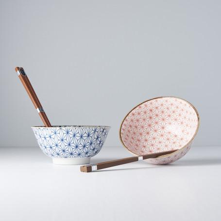 Serveringssæt Japansk Keramik Sæt 2 Skåle Med Spisepinde 15cm Asanoha VHC7582