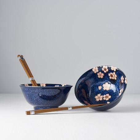 Serveringssæt Japansk Keramik Sæt 2 Skåle Med Spisepinde 15cm Sakura Marine VHC7577