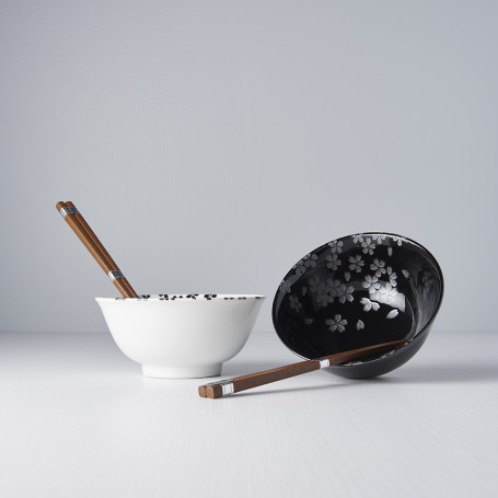 Serveringssæt Japansk Keramik Sæt 2 Skåle Med Spisepinde 15cm Sølv Sakura VHC3268