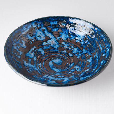 Skåle Japansk Keramik Dyb Tallerken 24cm Blå Kobber Hvirvel VHC3765