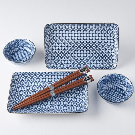 Serveringssæt Japansk Keramik Sushi Sæt med Spisepinde Hana VHC0307