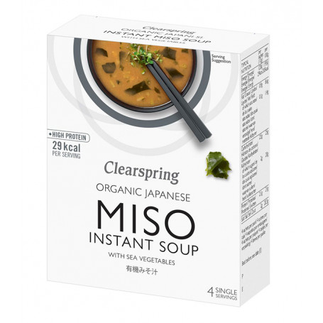Suppebaser Clearspring Instant Miso Suppe Sød Hvid Miso med Wakame Tang GA00498